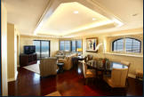 The presidential suite provides luxury accomodations with a sweeping ocean view.